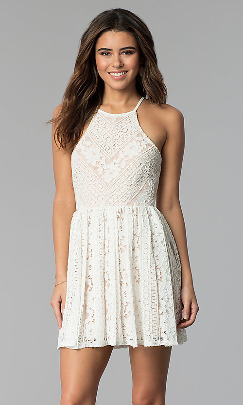 Image of nude-lined short ivory lace graduation party dress. Style: JU-10719 Front Image