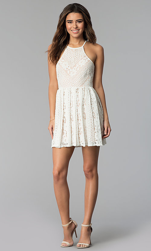 Image of nude-lined short ivory lace graduation party dress. Style: JU-10719 Detail Image 3