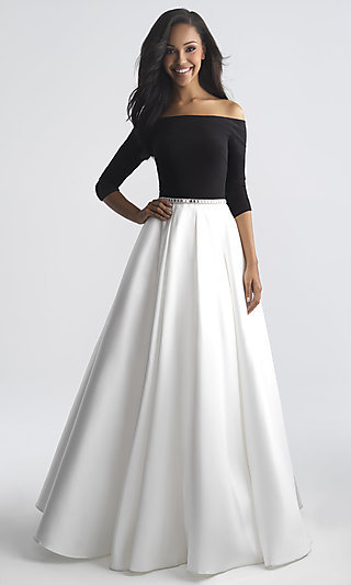 Long Madison James Off-the-Shoulder Prom Dress with Beaded Waist