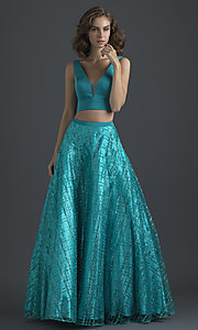 Image of glitter-skirt long two-piece formal prom dress. Style: NM-18-613 Front Image