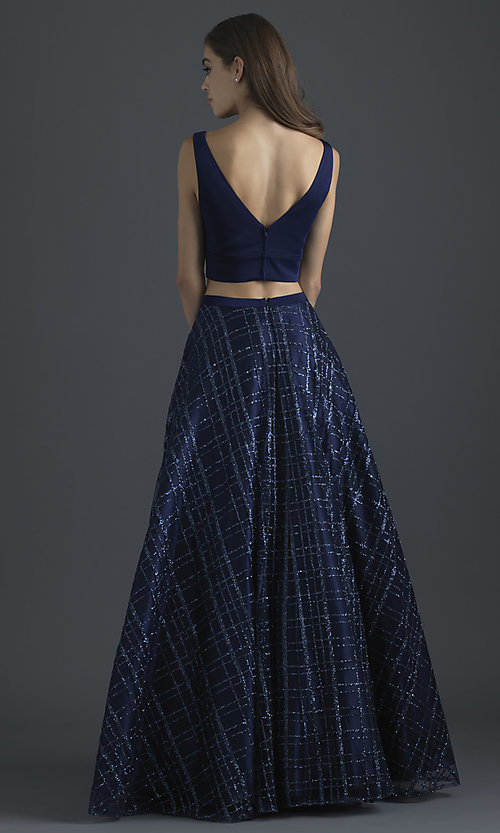Image of glitter-skirt long two-piece formal prom dress. Style: NM-18-613 Back Image