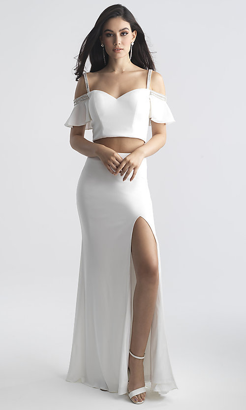 Image of designer long two-piece off-shoulder prom dress. Style: NM-18-745 Front Image