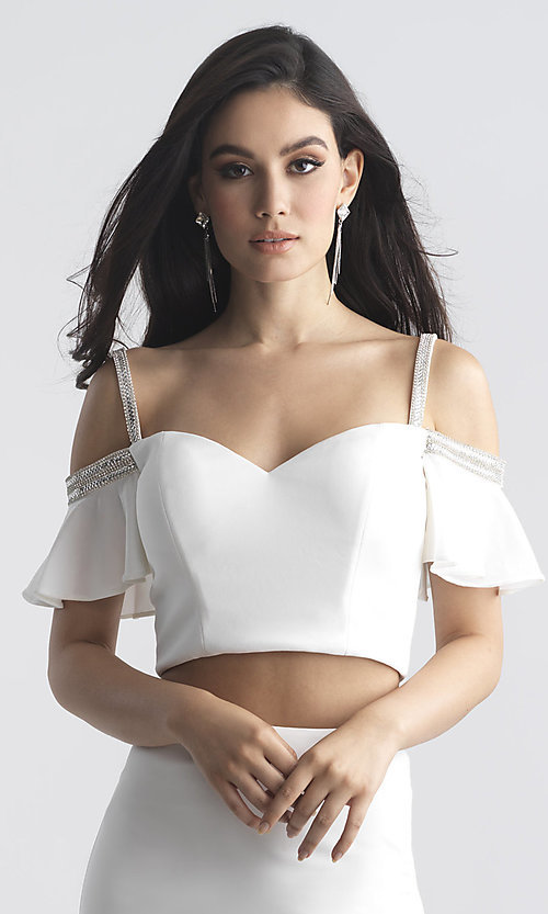 Image of designer long two-piece off-shoulder prom dress. Style: NM-18-745 Detail Image 1