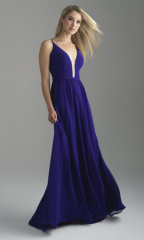 Image of Madison James long v-neck prom dress with corset. Style: NM-18-650 Front Image