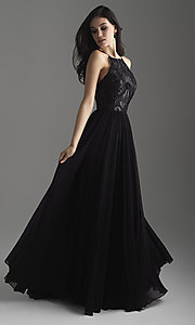 Image of high-neck Madison James long formal prom dress. Style: NM-18-605 Detail Image 1