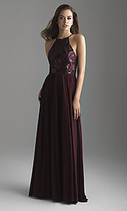 Image of high-neck Madison James long formal prom dress. Style: NM-18-605 Detail Image 2