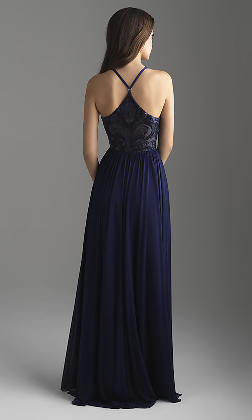 Image of high-neck Madison James long formal prom dress. Style: NM-18-605 Back Image
