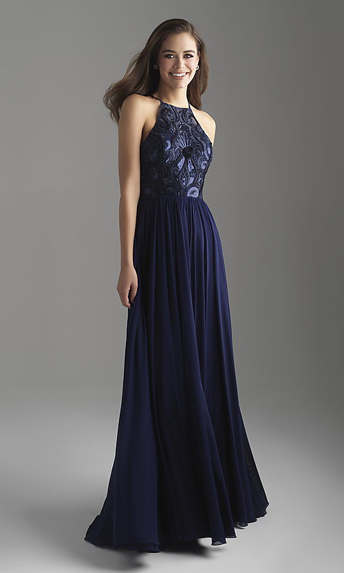 Image of high-neck Madison James long formal prom dress. Style: NM-18-605 Front Image