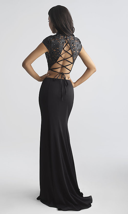 Image of two-piece prom dress with vegan-leather laser-cut top. Style: NM-18-655 Back Image
