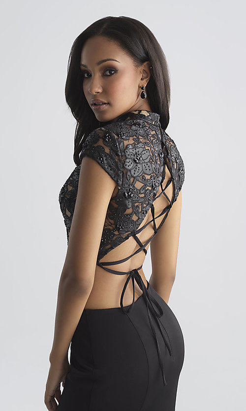 Image of two-piece prom dress with vegan-leather laser-cut top. Style: NM-18-655 Detail Image 1