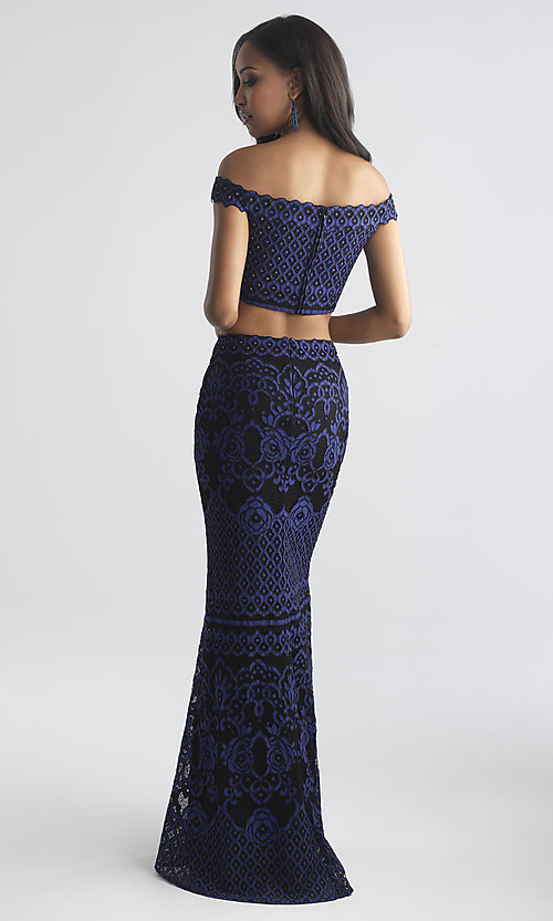 Image of long two-piece lace Madison James prom dress. Style: NM-18-646 Back Image
