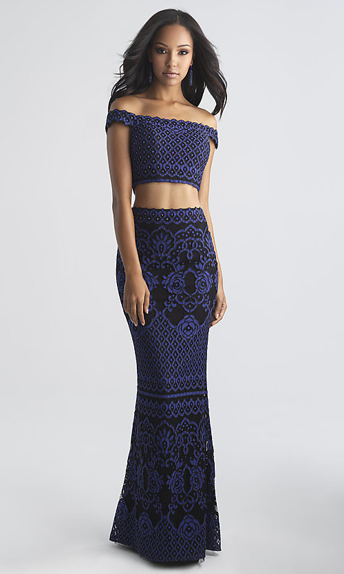 Image of long two-piece lace Madison James prom dress. Style: NM-18-646 Front Image