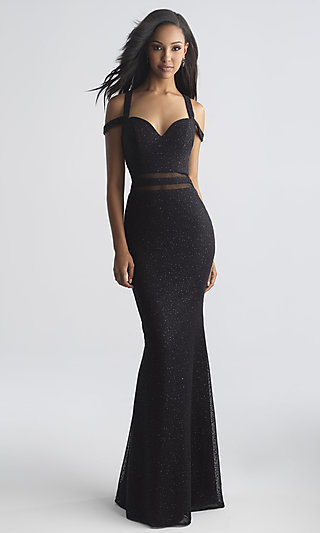 Long Madison James Open-Back Prom Dress with Illusion Accents