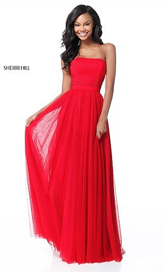 Sherri Hill Strapless Long Formal Dress with Beads
