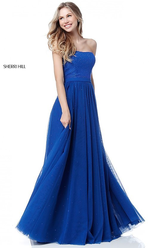 Image of Sherri Hill strapless long formal dress with beads. Style: SH-51667 Detail Image 1