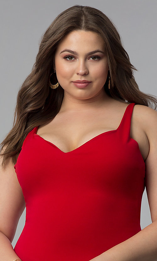 Image of short red plus-size party dress with wide v-neck. Style: KIM-D22946B Detail Image 1
