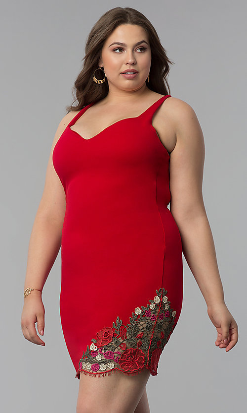 Image of short red plus-size party dress with wide v-neck. Style: KIM-D22946B Detail Image 3