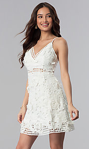 Image of graduation party short v-neck lace dress. Style: SOI-D16524 Front Image