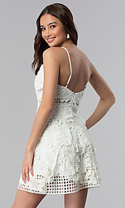 Image of graduation party short v-neck lace dress. Style: SOI-D16524 Back Image