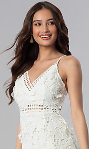 Image of graduation party short v-neck lace dress. Style: SOI-D16524 Detail Image 1