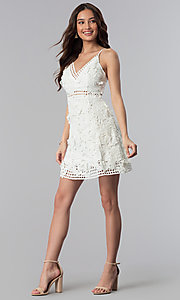 Image of graduation party short v-neck lace dress. Style: SOI-D16524 Detail Image 3