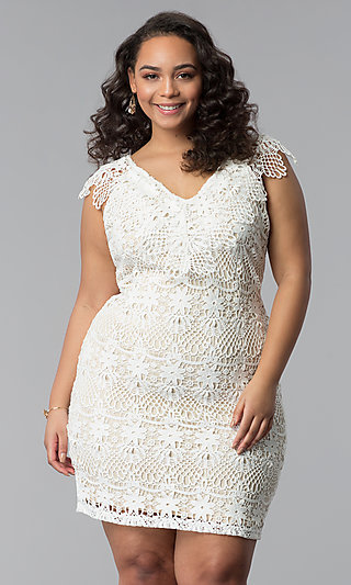 V-Neck Flutter-Sleeve Short Plus Lace Party Dress