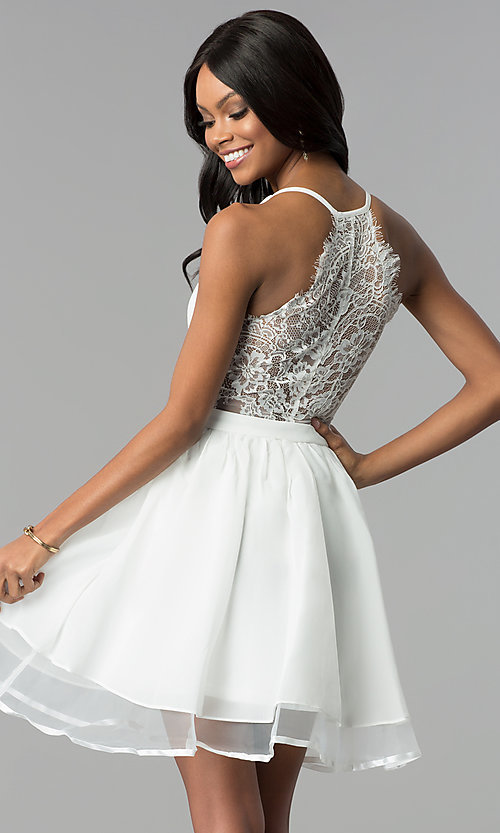 Image of ivory short a-line lace-back graduation party dress. Style: LP-24744i Back Image