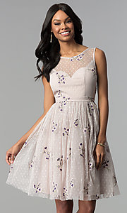 Image of short embroidered tulle graduation party dress. Style: LP-25097 Detail Image 2