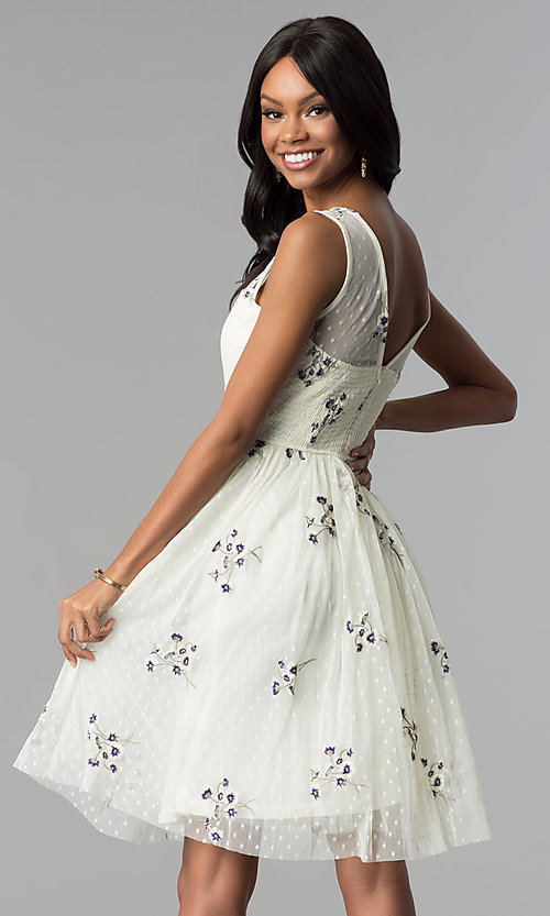 Image of short embroidered tulle graduation party dress. Style: LP-25097 Back Image