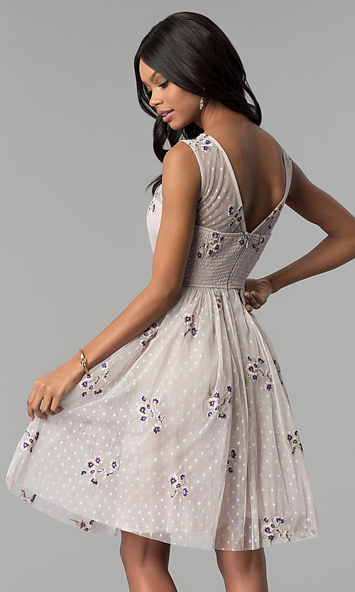 Image of short embroidered tulle graduation party dress. Style: LP-25097 Detail Image 3