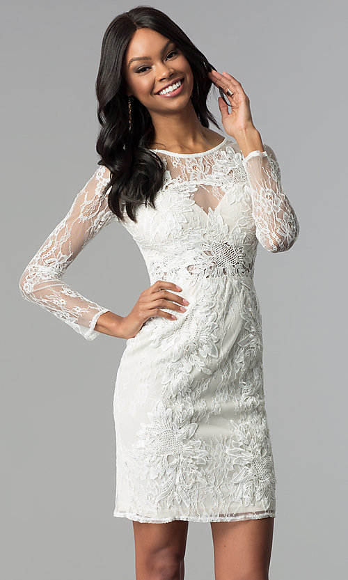 be9fdab0617 Image of short lace graduation party dress with long sleeves. Style   LP-24923