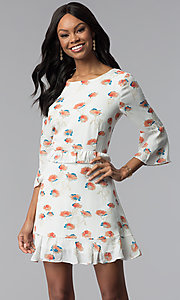 Image of short floral-print casual graduation party dress. Style: ESL-62141D-K Front Image