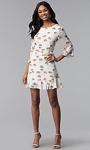 Image of short floral-print casual graduation party dress. Style: ESL-62141D-K Detail Image 3