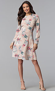 Image of long-sleeve floral-print short pink party dress. Style: ESL-62209D-K Detail Image 3