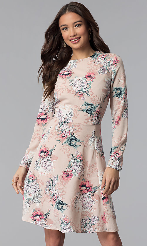Image of long-sleeve floral-print short pink party dress. Style: ESL-62209D-K Front Image