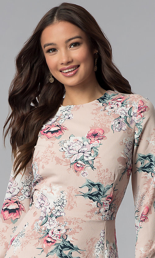 Image of long-sleeve floral-print short pink party dress. Style: ESL-62209D-K Detail Image 1