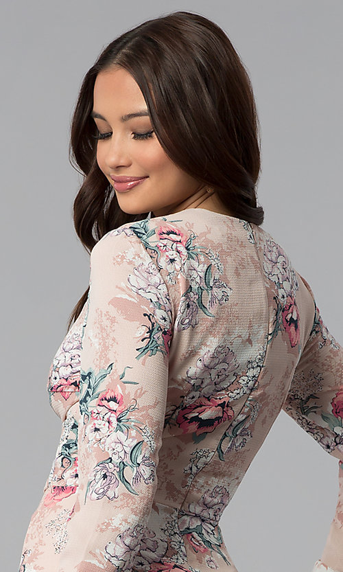Image of long-sleeve floral-print short pink party dress. Style: ESL-62209D-K Detail Image 2