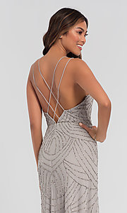 Image of beaded Adrianna Papell bridesmaid dress with slit. Style: HOW-APPBM-40116 Detail Image 6