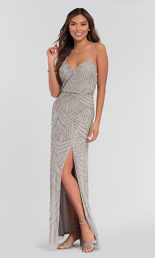Image of beaded Adrianna Papell bridesmaid dress with slit. Style: HOW-APPBM-40116 Detail Image 3