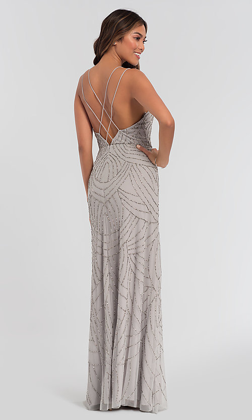 Image of beaded Adrianna Papell bridesmaid dress with slit. Style: HOW-APPBM-40116 Detail Image 4