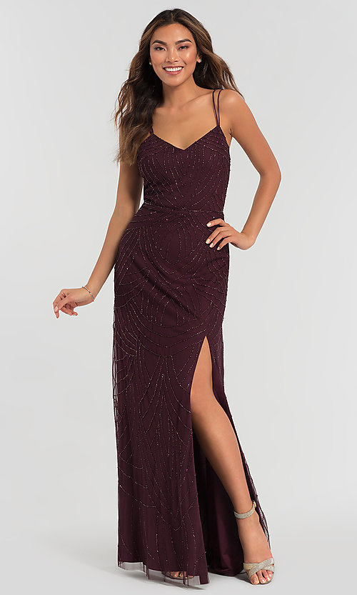 Image of beaded Adrianna Papell bridesmaid dress with slit. Style: HOW-APPBM-40116 Front Image