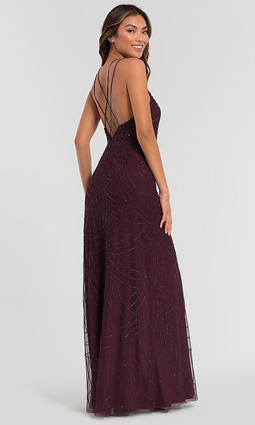 Image of beaded Adrianna Papell bridesmaid dress with slit. Style: HOW-APPBM-40116 Back Image