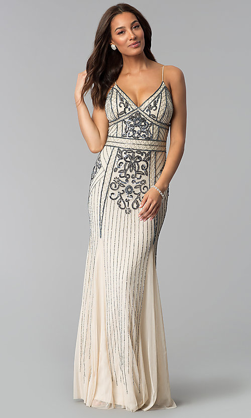 Long Vintage-Inspired Prom Dress with Sequins