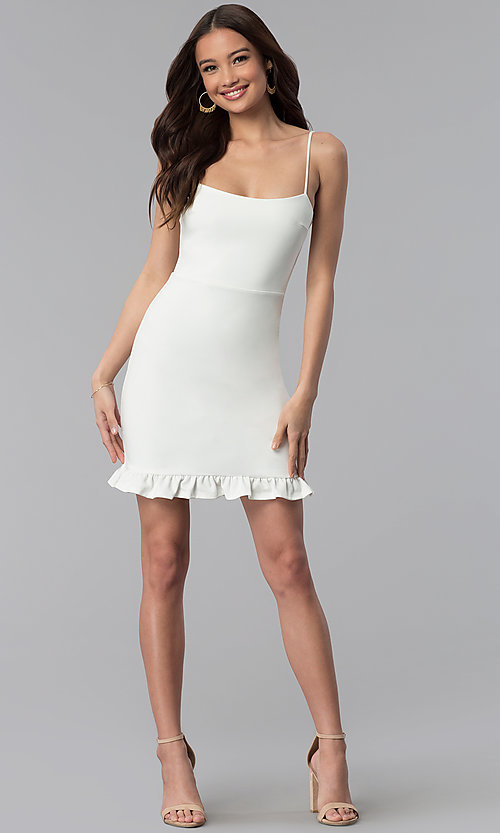 Image of short white party dress with spaghetti straps. Style: JTM-JD8354 Detail Image 3