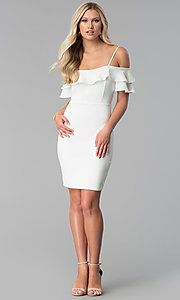 Image of short off white off-the-shoulder graduation dress. Style: JTM-JD8595 Detail Image 3
