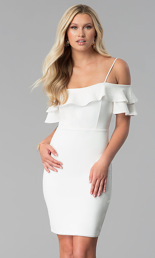 Image of short off white off-the-shoulder graduation dress. Style: JTM-JD8595 Front Image