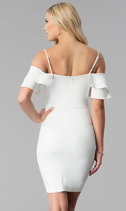 Image of short off white off-the-shoulder graduation dress. Style: JTM-JD8595 Back Image