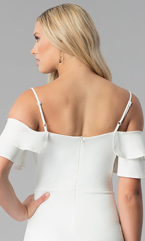 Image of short off white off-the-shoulder graduation dress. Style: JTM-JD8595 Detail Image 2