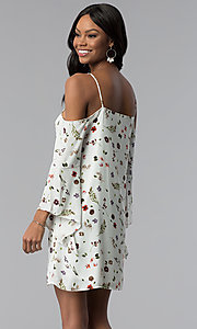 Image of floral-print off-the-shoulder shift party dress. Style: RO-R67339-1 Back Image