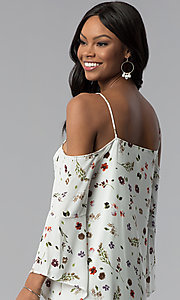 Image of floral-print off-the-shoulder shift party dress. Style: RO-R67339-1 Detail Image 2